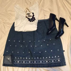 Blue Jean Embroidery Star Skirt - Route 66